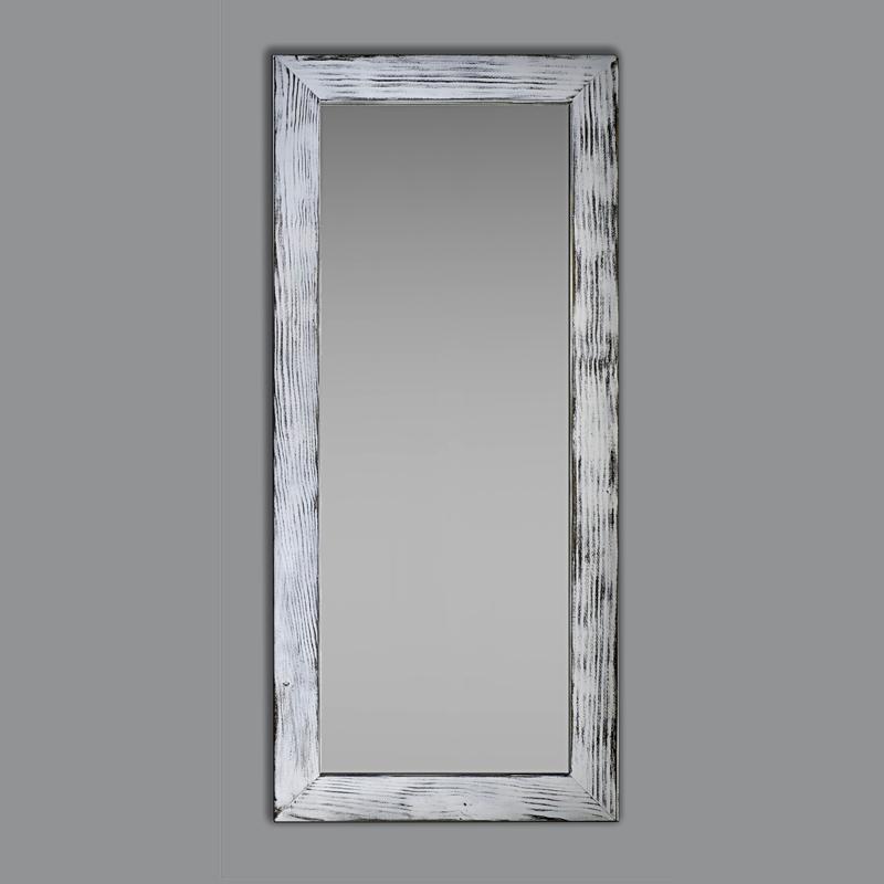 Espejo rectangular blanco decapado