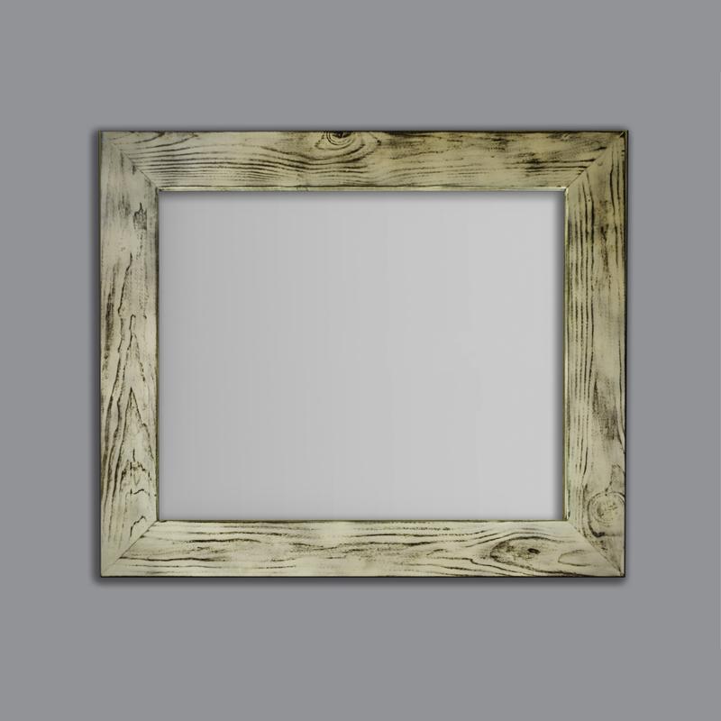 Espejo cuadrado blanco decapado